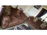 2 x large sofaworks brown material and snakeskin skin effect