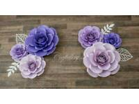 6pcs set of paper flower roses for nursery decor (shades of purple)