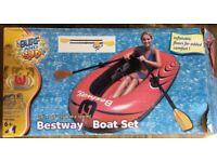 "78"" X 48"" Bestway Boat Set (Boat/Pump/Oars) inflatable boat Dinghy"