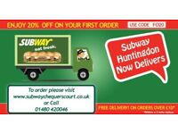 Hiring Delivery Drivers for Subway Restaurant in Huntingdon - Own Car