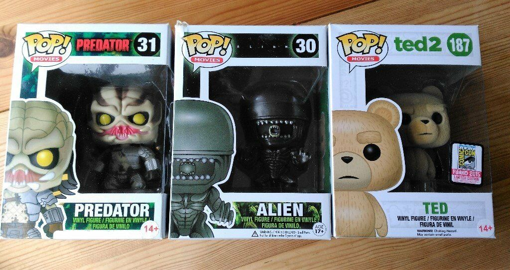 Funko Pop Vinyl Figures Movie Characters - Ted Exclusive, Alien and Predator