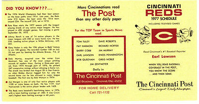 1977 CINCINNATI REDS BASEBALL POCKET SCHEDULE - UNFOLDED