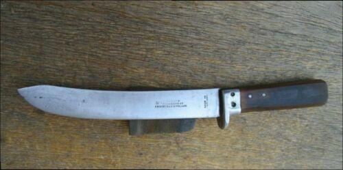 Antique I. WILSON Sheffield Carbon Steel Butcher Knife w/Finger Guard - SHARP!