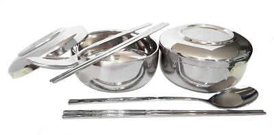 - Set of 2 Stainless Steel Korean Traditional Style Rice Bowl with Spoon/Chopstick