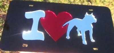 PIT BULL BREED CANINE LOVE HEART MIRROR LASER CUT LICENSE PLATE INLAID ACRYLIC ()