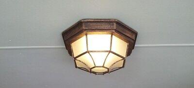 Flush Mount Outdoor Ceiling Light Fixture Glass Porch Metal Rust Indoor Lantern  ()
