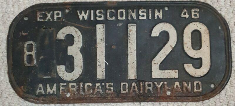 1946 Wisconsin License Plate 31129 Americas Dairyland White on Black