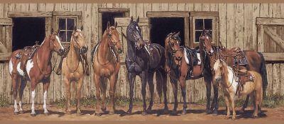 Western Horses at the Stable Wallpaper Border BG1732BD