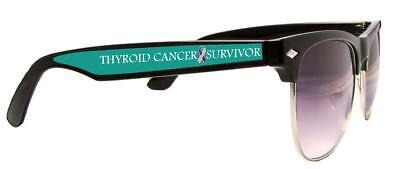 Thyroid Cancer Awareness Survivor Pink Purple Ribbon Black Wire Sunglasses S2JT ()