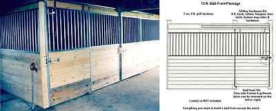 HORSE BARN STALLS, FRONTS GALVANIZED DOORS, 12 Ft. STALL