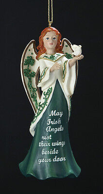 KURT S. ADLER RESIN IRISH ANGEL HOLDING DOVE w/ SAYING CHRISTMAS ORNAMENT C7188