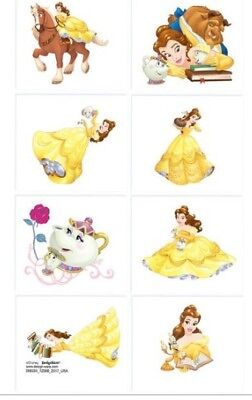 8 squares Disney Belle Beauty and the Beast temporary tattoos princess
