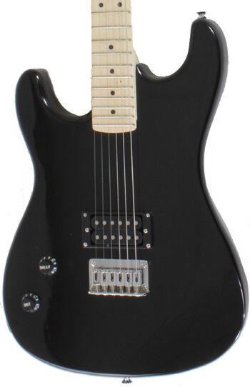 left handed black full size electric guitar with humbucker davison 2nd ebay. Black Bedroom Furniture Sets. Home Design Ideas