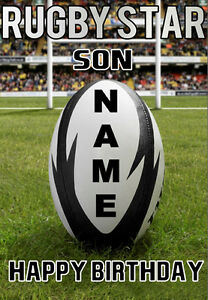 Personalised Birthday Card. SUPERSTAR RUGBY PLAYER ANY NAME... - GREAT CARD!!