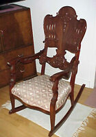 Antique Victorian Mahogany Wood Rocker Rocking Chair~Circa 1910