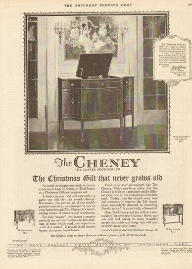 1924 Cheney Talking Machine Co Chicago IL Sheraton Buckinham Phonograph Ad