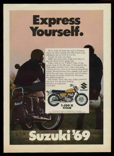1969 Suzuki T-500 II Titan motorcycle color photo vintage print ad