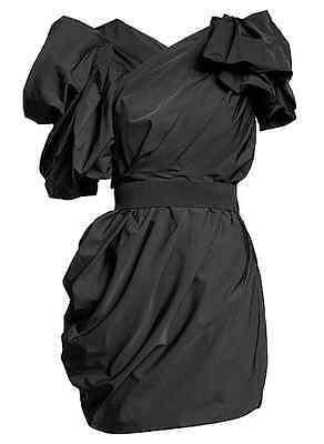 New Lanvin H&M Black Ruched Puff Ball Mini Cocktail Party Dress UK14 EU40 US10