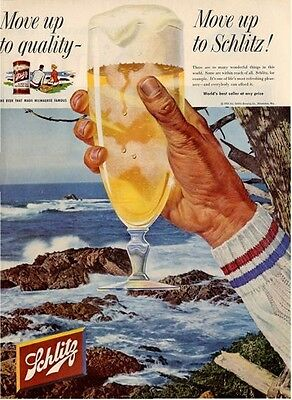 1958 Schlitz PRINT AD Beer Rocky Shore Beach Theme Great Coastal Cabin Decor