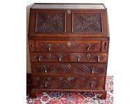 RARE GEORGE 111 ANTIQUE GOTHIC CARVED OAK BUREAU DESK WITH FITTED INTERIOR AND SECRET DRAWER V.G.C