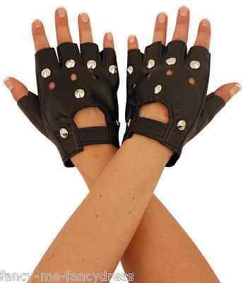 Damen schwarz Kunstleder Nieten Fingerlose Biker Maskenkostüm Handschuhe