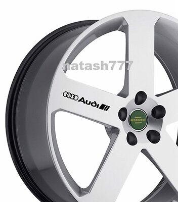 4 - AUDI Decal Sticker Racing Sport  S- Line Wheels Rims emblem logo BLACK