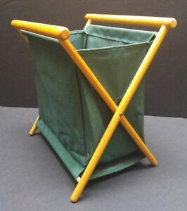 Vintage Green Canvas Folding Sewing/ Knitting/ Yarn Basket Caddy
