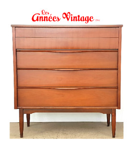 Commode Vintage Noyer Walnut Mid Century Dresser