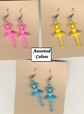 Cute BALLERINA EARRINGS-Bright Dance Teacher Charm Funky Costume Jewelry-1-PAIR