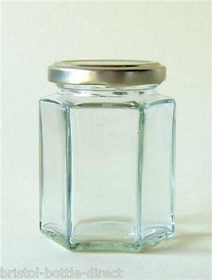 X 72 8oz / 196ml HEXAGONAL  GLASS JAM HONEY PRESERVE CHUTNEY PICKLES CANDLE JAR