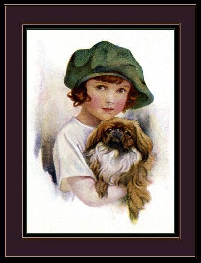 English Picture Print Pekingese Dog Little Girl Art