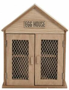 Rustic Wooden Egg Storage House Holder Kitchen Cabinet Rack Cupboard Tray Box