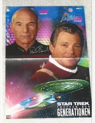 Patrick Stewart & William Shatner - Star Trek Generations poster signed by 2