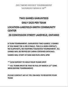 Mens hockey tourney $425 per team
