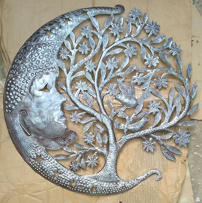 """Metal Tree of Life with Rising Moon Wall Art Hanging Decoration Celestial, 24"""""""