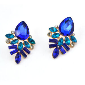 Hot-New-Women-Rhinestone-Blue-Crystal-Drop-Gold-Plated-Ear-Studs-Earrings-Free