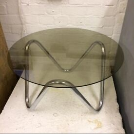 *** CONTEMPORARY * GLASS * AND * CHROME * COFFEE * SIDE * TABLE * BARGAIN ! ***