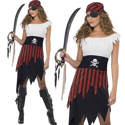 Ladies Caribbean Pirate Wench Fancy Dress Costume XS to XL (8-22) by Smiffys New