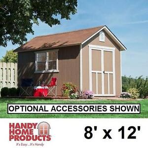 NEW* HHP 8' x 12' GABLE SHED KIT - 121111009 - HANDY HOME PRODUCTS DIY WOOD SHEDS INCLUDES FLOOR STORAGE UTILITY OUTDOOR