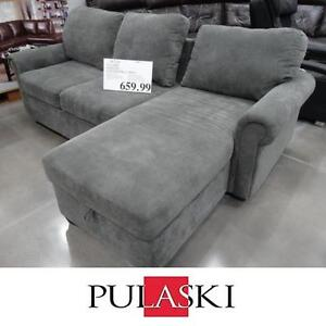NEW* PULASKI NEWTON CHAISE SOFA - 124910405 - LIGHT GREEN FABRIC SOFAS LIVING ROOM FURNITURE SLEEPER SECTIONAL SECTIO...