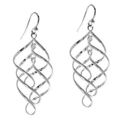 Sterling Silver Triple Swirl Dangling Earrings Stamped 925 ()
