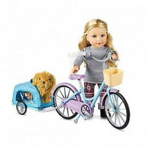 NEW: Newberry Doll Bike And Pet Trailer-$40/ Puppy pouch set-$25