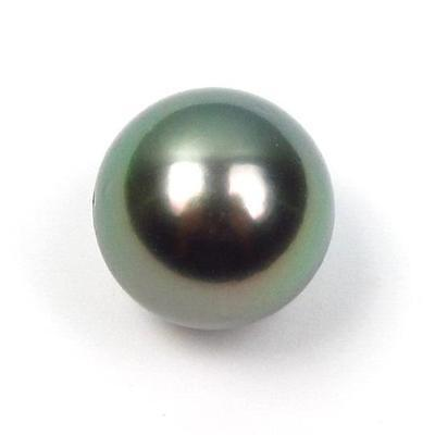 Excellent Undrilled 14.31mm Round Loose Tahitian Black / Peacock Green Pearl