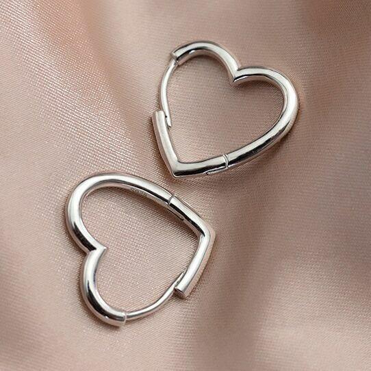 Jewellery - Womens Girls 925 Sterling Silver Love Heart Hoop Earrings Jewellery Gift UK