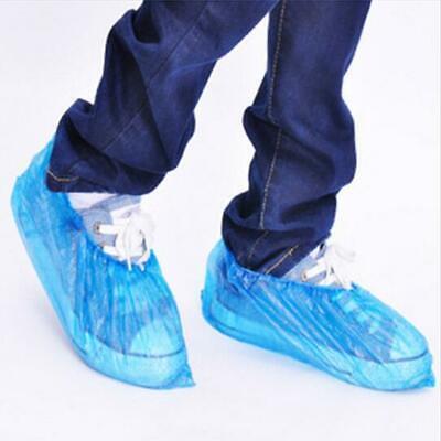100/200pcs Plastic Elastic Shoe Covers Overshoe Cleaning Carpet Disposable Blue