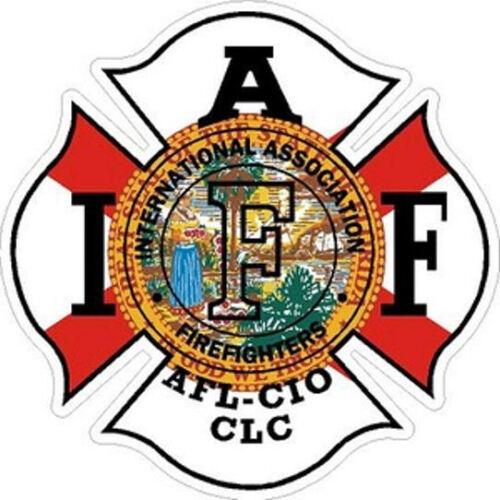 4 Inch Reflective Florida IAFF Firefighter Maltese Cross Sticker Decal