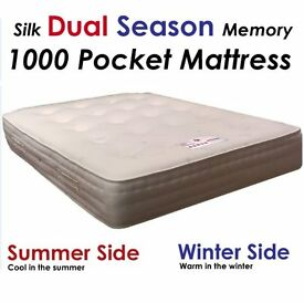 "4Ft6"" Double Dual Season 1000 Pocket Memory Mattress -FREE DELIVERY!!-"