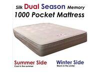 "4Ft6"" Double Dual Season 1000 Pocket Memory Mattress -FREE DELIVERY!!-"