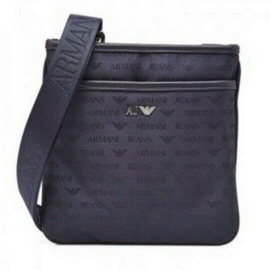 NEW GENUINE Armani Jeans AJ Men s Messenger Man Bag Pouch Black All Over  Print 6b2aef4fb0c3c
