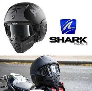 NEW SHARK RAW MOTORCYCLE HELMET LG MATTE BLACK - DRAK SOYOUZ MAT 104598263